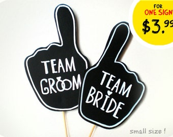 Two Photobooth Props - Wedding Signs with TEXT - Team Bride and team Groom Sing on sticks - Set of 2 photobooth signs