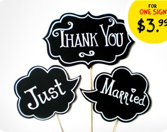 Photobooth Props - Small Wedding Signs with TEXT - Thank You and Just Married Sings on sticks - Set of 3 photobooth signs