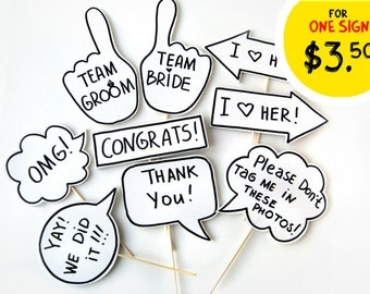Photobooth Props - Party Photo Booth Signs with TEXT - Mix of small signs on sticks - Set of 9 photobooth signs