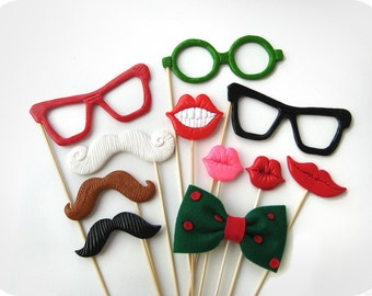 Christmas Photobooth props on sticks - Perfect Holiday Photo Booth Props set of 11