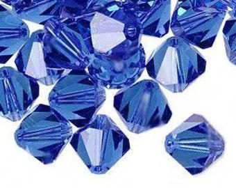 6mm Swarovski Sapphire Blue Crystal Bicone  Xilion Qty 24