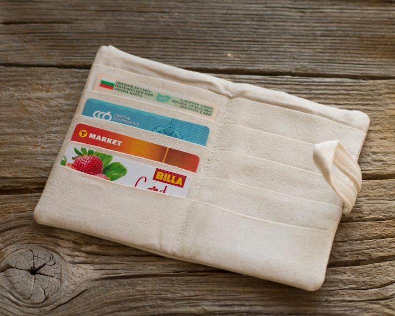 Natural White Cotton Card Holder Credit Card Wallet with Hearts in Red and Pink Organizer