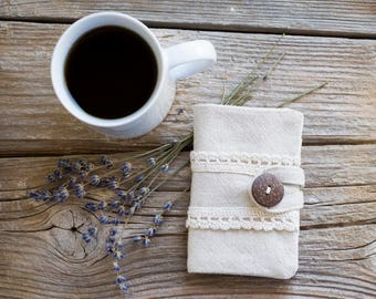 Linen and Lace Tea Wallet, Eco Friendly Gift for Tea Lover, Natural Tea Storage
