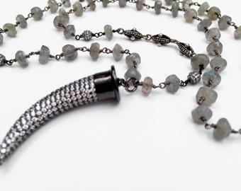 Labradorite Beaded Necklace with CZ Dagger