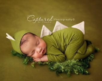 Newborn Dinosaur Pajama Set /Newborn Prop Set / Bonnet and Footie Romper