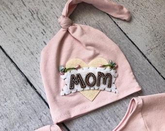 Newborn Knot Hat /Newborn Hat Prop  / Night Cap Hat / I Love Mom Hat/ Heart Hat