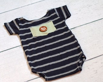 Newborn Boy Romper /Newborn Onesie Prop / Navy Blue and Grey Stripes