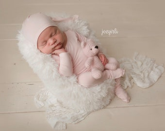 Newborn Knot Hat and Pajama Set /Newborn Prop Set / Night Cap hat and Footie Romper