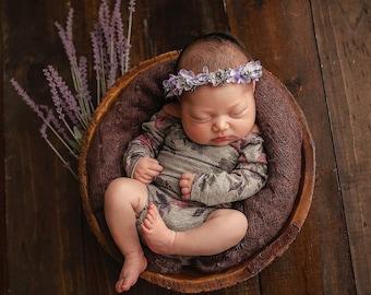 Newborn  Long Sleeve Grey Floral Romper