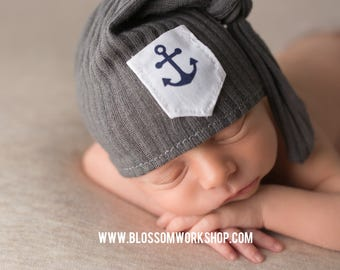 Newborn Knot Hat /Newborn Hat Prop  / Night Cap Hat / Anchor Hat