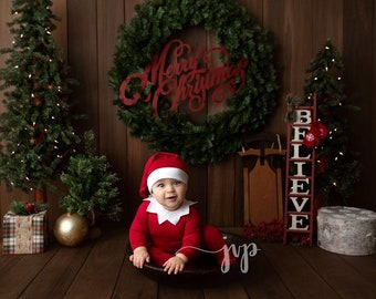 Sitter Knot Hat and Pajama Set /6-12 Month Prop Set / Night Cap hat and Footie Romper / Elf Outfit / Christmas Elf Outfit