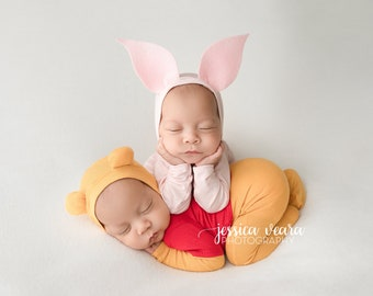 Newborn Bear and Piglet Pajama Set /Newborn Prop Set / Bear hat and Footie Romper/ Bear Pajama
