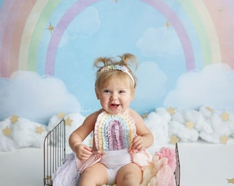 Rainbow Sitter Romper / 6-12 months / Cake Smash Outfit