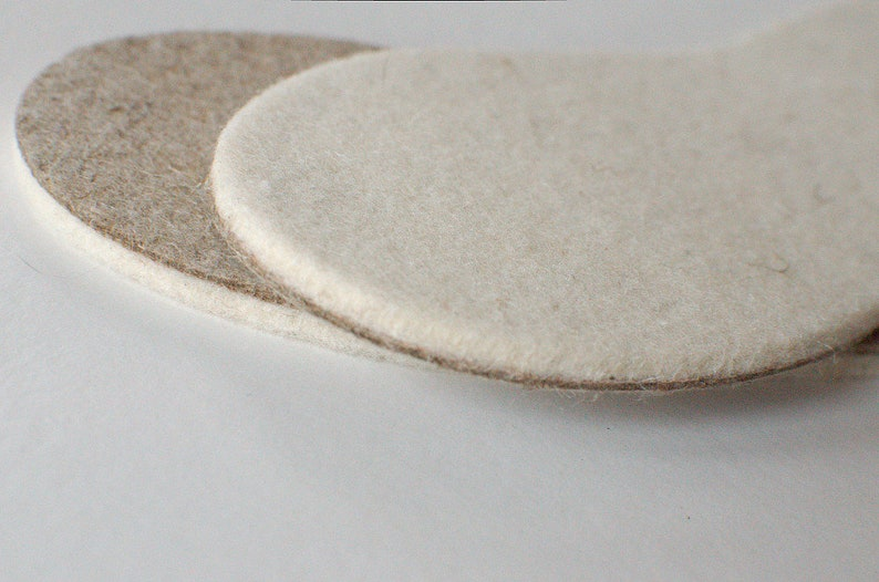 Natural felted wool flax insoles felted soles for crochet image 0