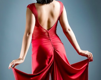 Sequin Tango Dress, Red Tango Performance Dress, Tango Dress Side Slit, Tango Dress Back Panel, Tango Dress by Tango With Love