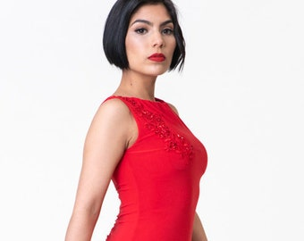 Fire Red Tango Salon Performance Dress Low Back Ruched Back Split Tail  Applique Sabrina Tango With Love Apparel
