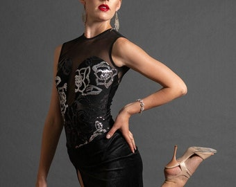 Argentine Tango Performance Velvet Dress.  Stage Ballroom Latin Dress.  Side Slit Sequin Dress. Tango With Love, Custom Tango Dress,