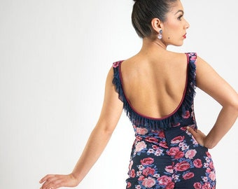 Off The Rack Sale In Stock size Small Argentine Tango Dress, Ruffled Milonga Low Back, Eyes On Me Lace Mesh Floral Print Tango With Love