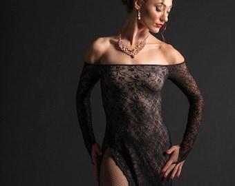 Argentine Tango Performance Dress, Tango Stage Black Dress, Tango Lace Side Slit Dress, Off Shoulder Tango Dress by Tango With Love