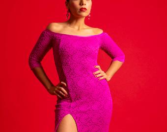 Argentine Tango Performance Dress.  Stage Ballroom Latin Dress.  Side Slit Off Shoulder Dress.  Magenta Tango With Love Juliet Lace Dress.