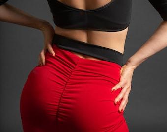 Pencil Reversible Argentine Tango skirt, Milonga Ruched Side Skirt,  Back Slit Split Tail Cutout Waistband Skirt,  Tango With Love Red Black