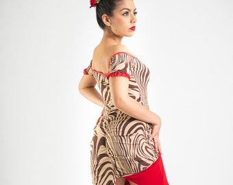 Reversible Tango Off Shoulder Pin Up Tango  Dress Low Back Ruched Split Tail Juliet Rumba Red Tango With Love