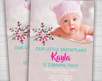 Our Little Snowflake Pink Gold Glitter Modern Birthday Invitation First/ANY Birthday Photo Digital Download Printable Winter Birthday Snow