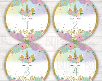"""Unicorn Face Gold Glitter 1-12 months Monthly Onesize Stickers - 4"""" diameter Over the Rainbow Magical Floral"""