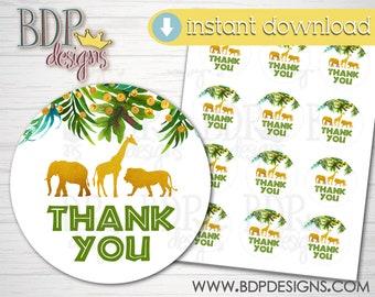 Gold Safari Jungle Animals Baby Shower Favor Stickers  Gold Glitter Baby Shower  Gender Neutral Baby Shower Favor Sticker bs-171