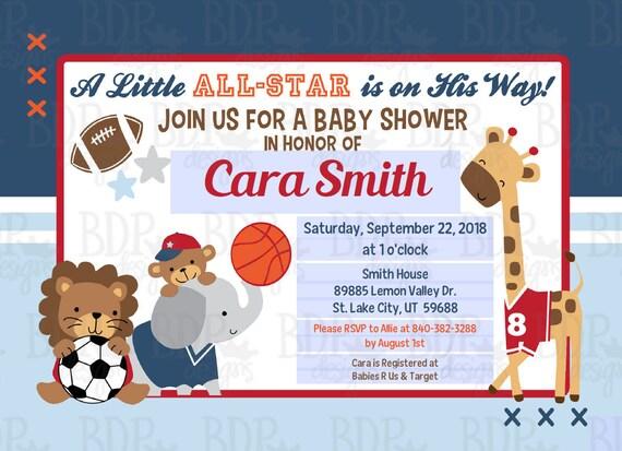 Future All Star MVP Sports Editable pdf Baby Shower Invitation   Etsy