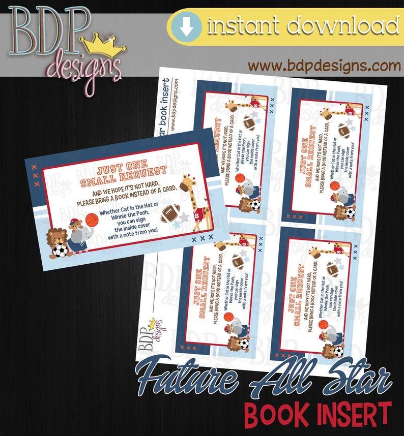 80ab41187da06 Future All Star Books for Baby, Future All Star Baby Shower, Books for Baby  Insert, Books for Baby Download, Sports Baby Shower, Jungle Baby
