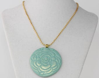 Turquoise Flower Necklace; Polymer Clay Pendant Necklace; Spring Flower Necklace; Turquoise and Gold Necklace; Statement Jewelry