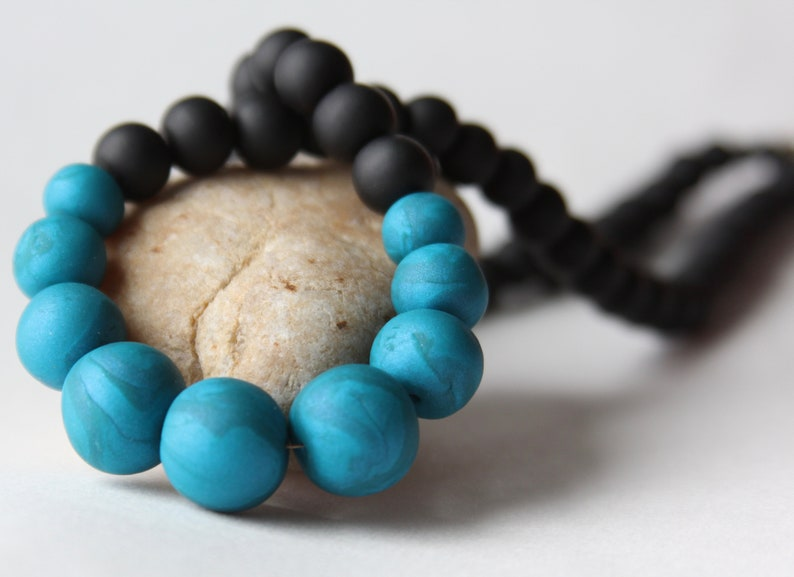 Teal and Black Polymer Clay Beaded Necklace