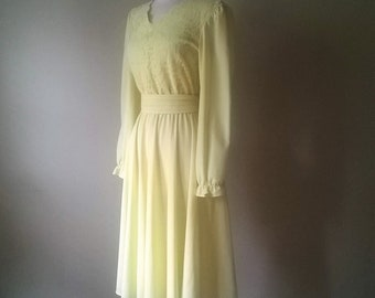 9a8b521863 70 s Buttercup Yellow Lace Belted Dress    Vintage Formal Pastel Wedding     L XL Large