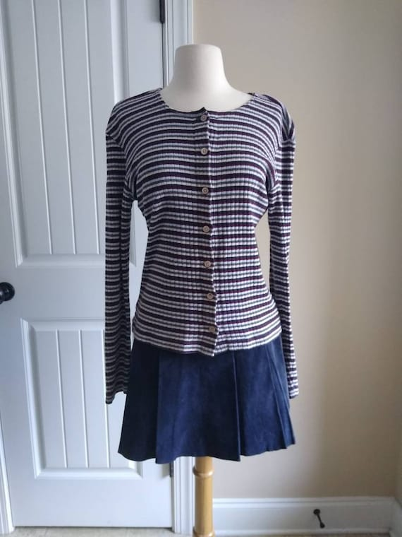 90s GAP Striped Cotton Cardigan in Brown and Blue