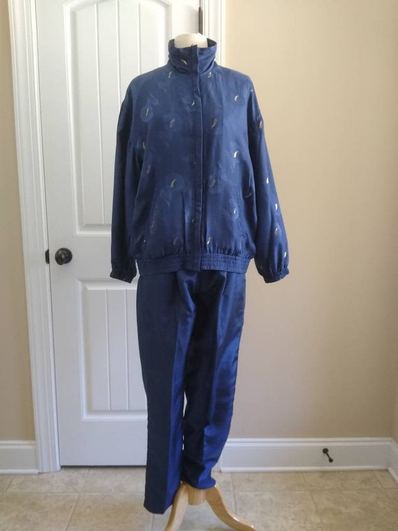 Vintage 80s 90s Navy Blue and Gold Silk Tracksuit