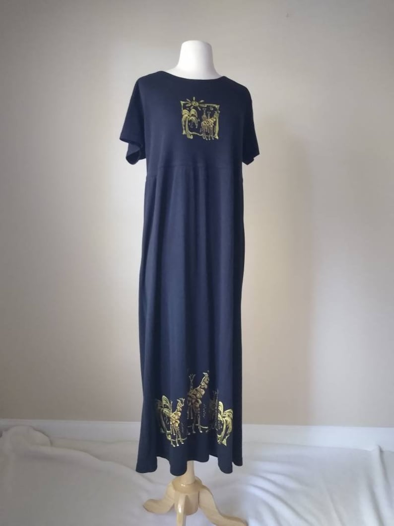 Vintage 90s Soft Short Sleeve Summer Maxi T-shirt Dress  Black with Gold Giraffes and Palm Trees Medium Large 10