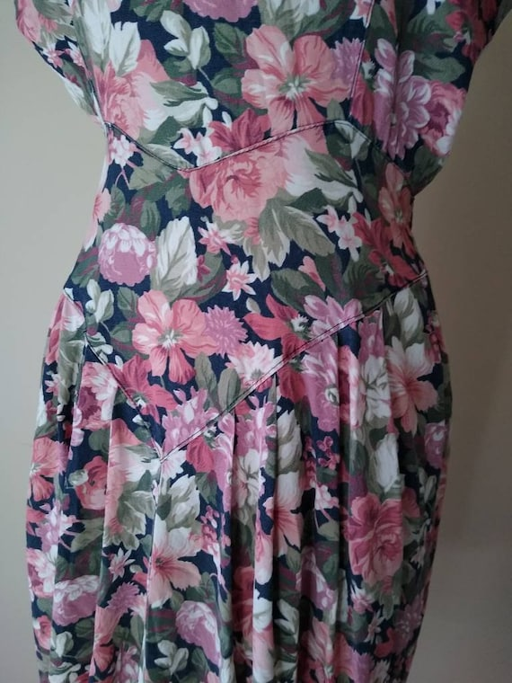 Early 90/'s Floral Dress  High Collar Flutter Sleeves Tie Waist  Large L