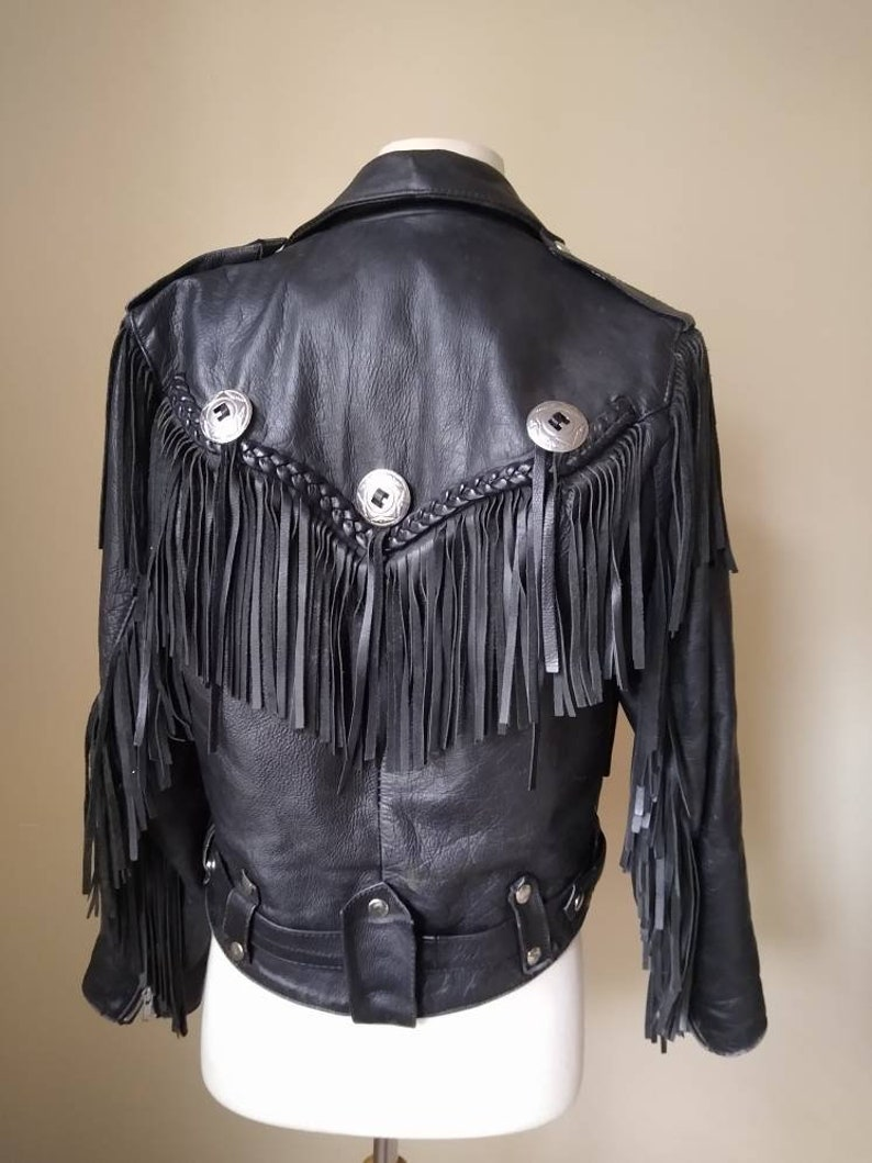Vintage 1970s Fringe Braided Black Biker Jacket by First Genuine Leather  Size 36 Medium