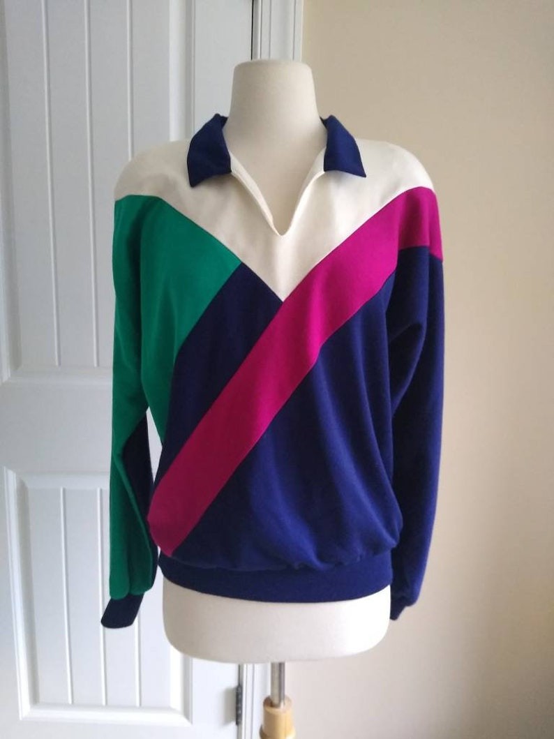 Vintage Color Block Stripe Top in Pink Green /& Navy  70s 80s Collared Long Sleeve Shirt by Cricket Lane M L Medium Large