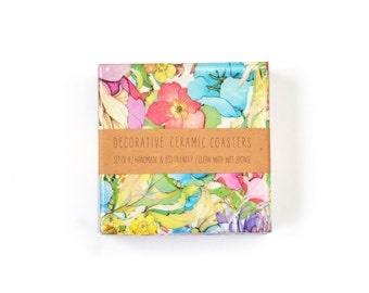 Pastel Bloom Ceramic Coasters Spring Colorful Floral Coasters Gift for Her Repurposed Tile Drink Coasters