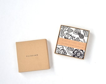 "Marimekko Pattern Coasters ""Tiara"" Black and White Botanical Nature Repurposed Ceramic Tile Coasters"
