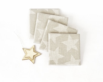 Ceramic Coasters Big White Stars on Grey Linen Winter Holiday Christmas Gift  Rustic Country Style Drink Coasters