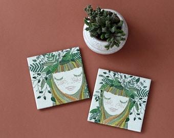 Angel Earth Coasters Ceramic Tile Set