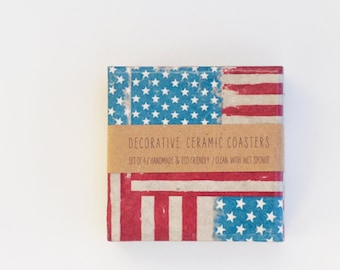 American Flag Ceramic Tile Coasters Grungy Version Rock Style 80s 90s, set of 4