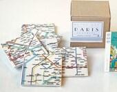 Paris Metro Map Coasters, Ceramic Tile Coasters, Special Gift Set set of 9