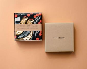 Marimekko Pattern Coasters, Kiiruna, Re-purposed Ceramic Tile Drink Coasters, Scandinavian Folk Style, Hostess Christmas Gift
