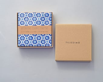 Mediterranean Tiles Coasters Ceramic Coasters Blue White Floor Coasters Beverage Drink Table Coasters Gift for Her