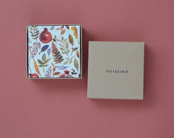 Pomegranate Coasters Ceramic Tile Set Thanksgiving Gift