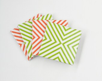 Minimal Geometric Coasters Green Orange or Mix Modern Chic Ceramic Tile Coasters, set of 4